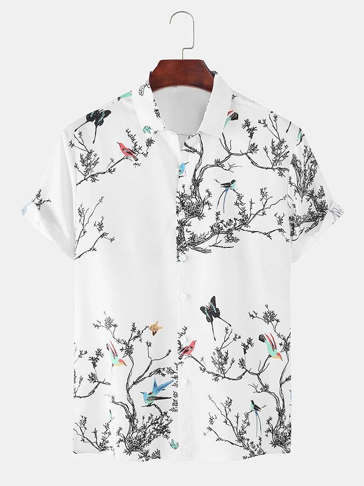 White Casual Tree_ Birds Print Lapel Collar Short Sleeve Beach Holiday Shirt For Men
