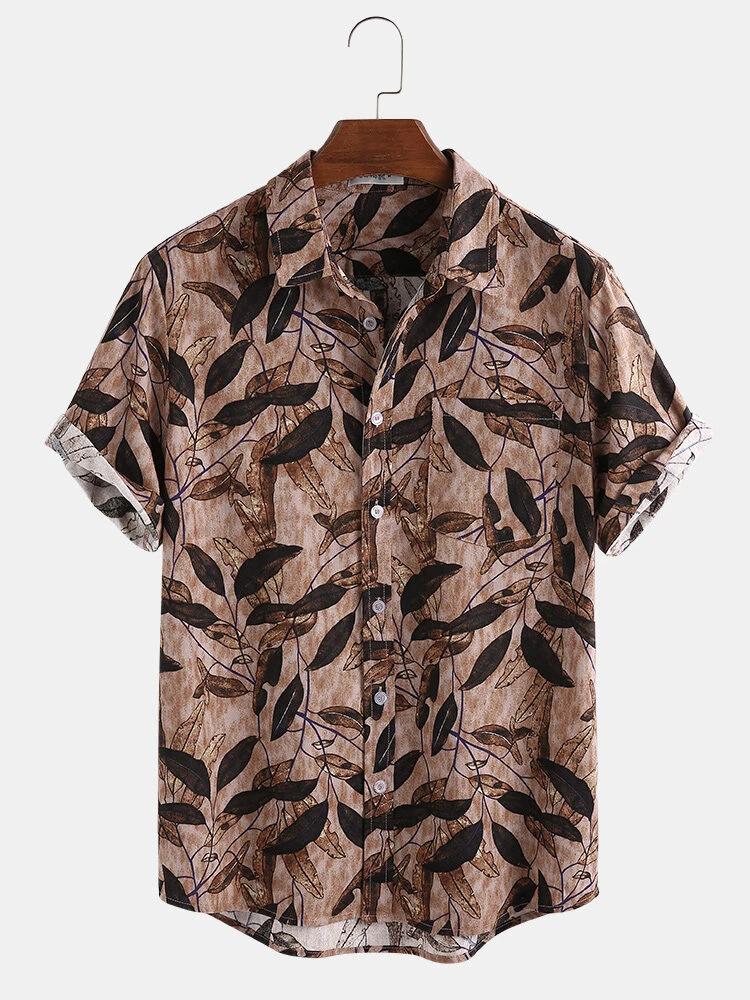 Brown Cotton Leaf Printing Patch Pocket Short Sleeve Casual Vintage Shirt For Men