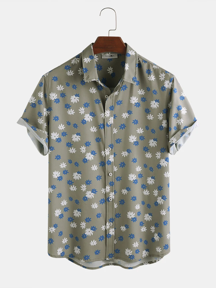 Olive Floral Printing Breathable Loose Fit Casual Shirt For Men