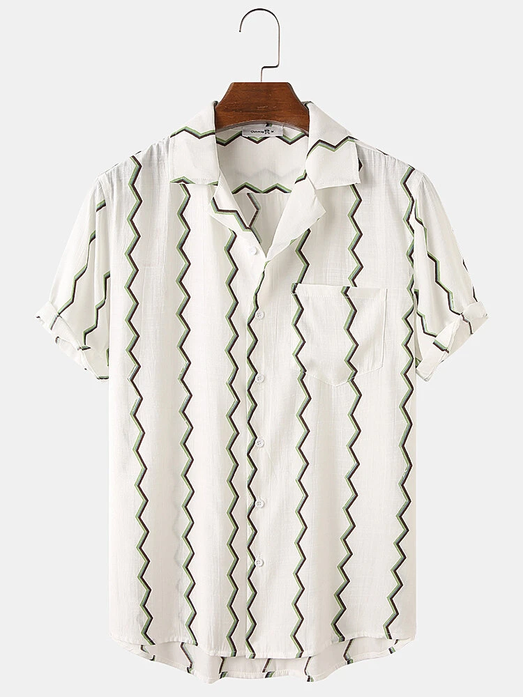 White Curved Stripes Casual Short Sleeve Shirt For Men