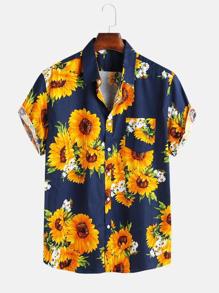 Navy Blue Sunflower Printed Cotton Fit Loose Causal Shirt For Men