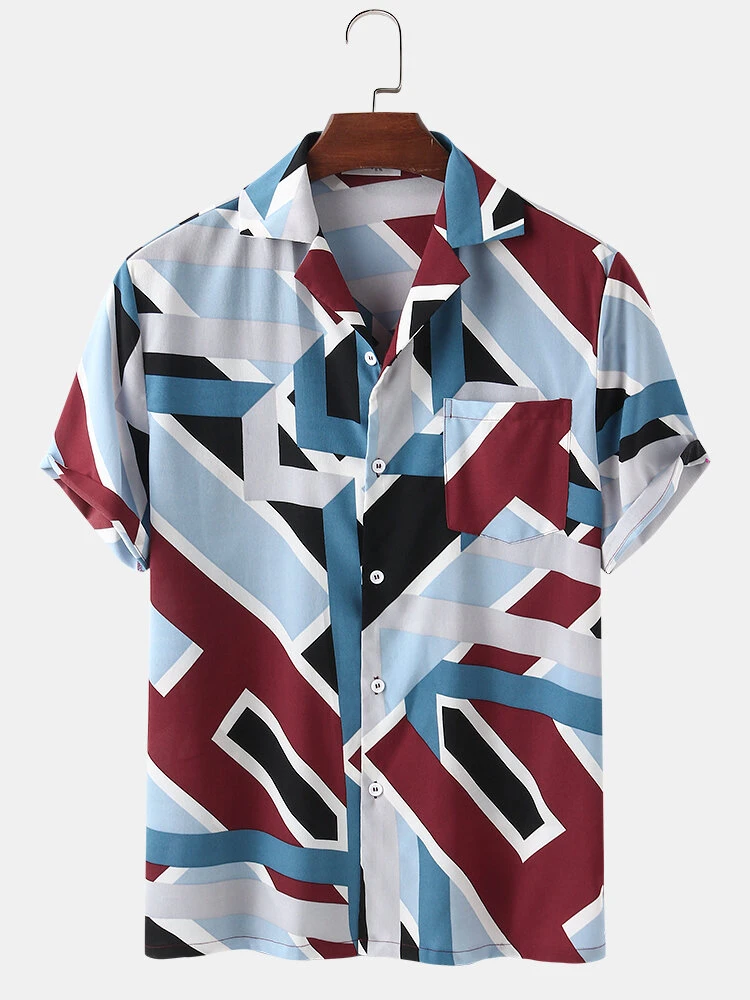 Geometry Multi Color Block Revere Collar Short Sleeve Casual Shirt With Pocket For Men