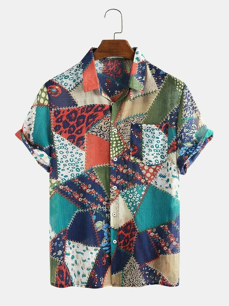 Multi Ethnic Style Geometric Stitching Breathable Printing Hawaiian Casual Shirt For Men