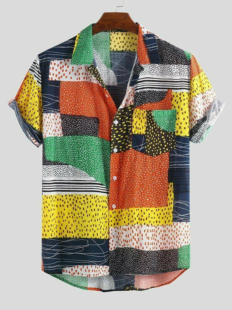 Boys  Color Block Dot Half Sleeves Beach Wear Shirt
