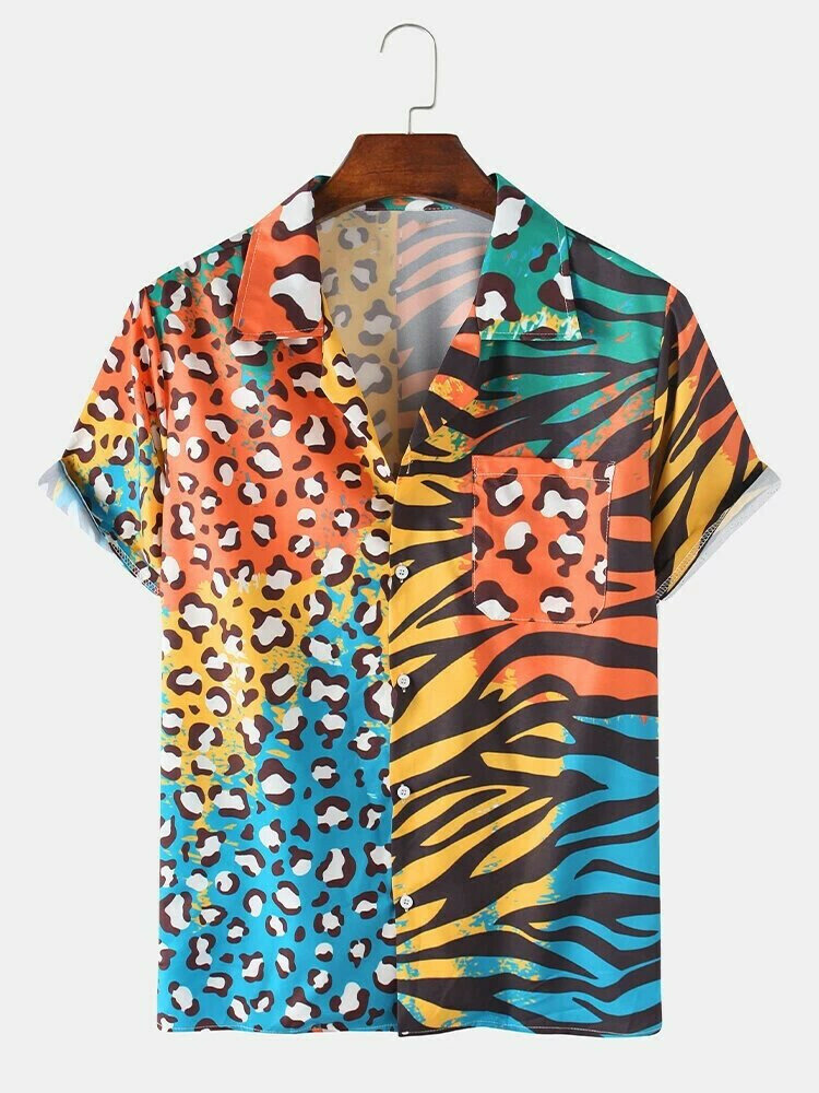 Colorful Leopard Zebra Mixed Print Short Sleeve Chest Pocket Leisure Holiday Shirt For Men