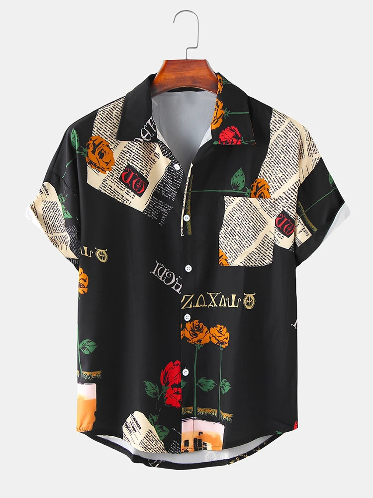 Black Vintage Rose Letter Print Loose Casual Short Sleeve Shirt With Pocket For Men