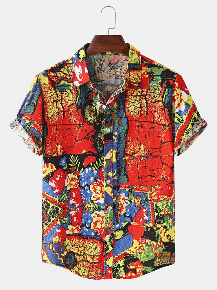 Red Vintage Oil Painting Print Turn Down Collar Short Sleeve Hawaii Holiday Shirt For Men
