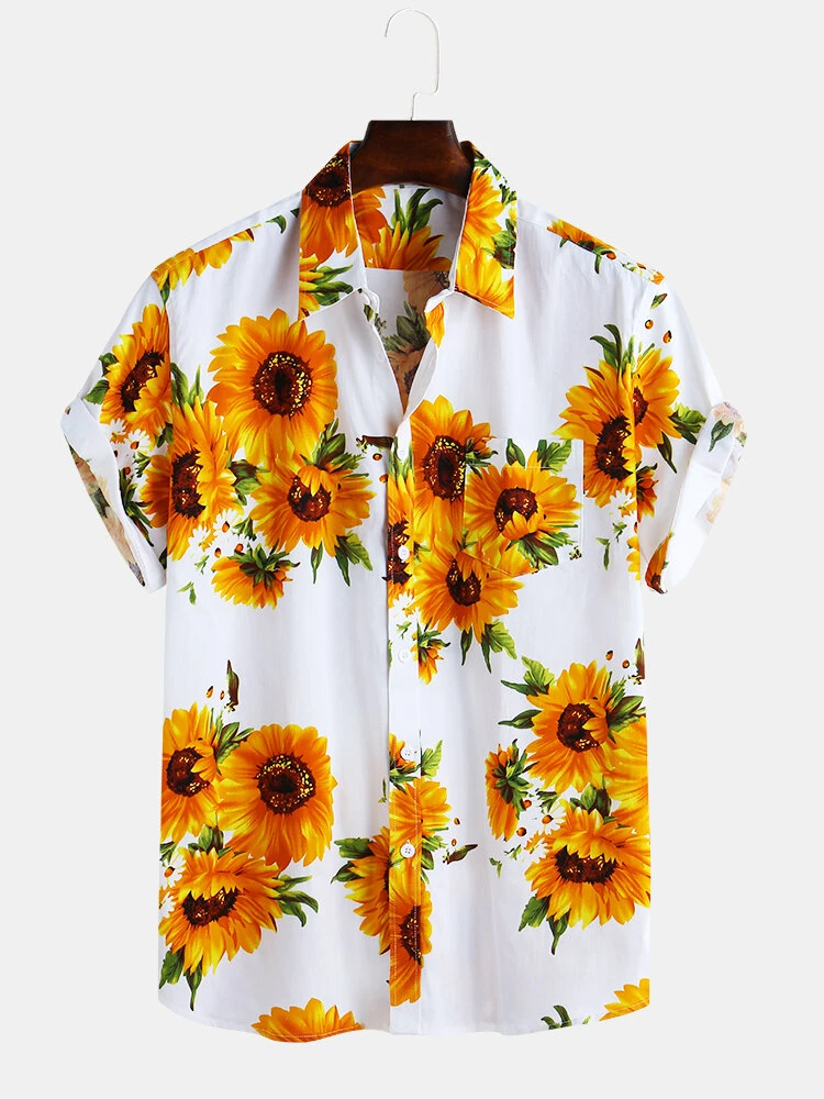 White Sunflower Printed Pure Cotton Fit Loose Causal Shirt For Men