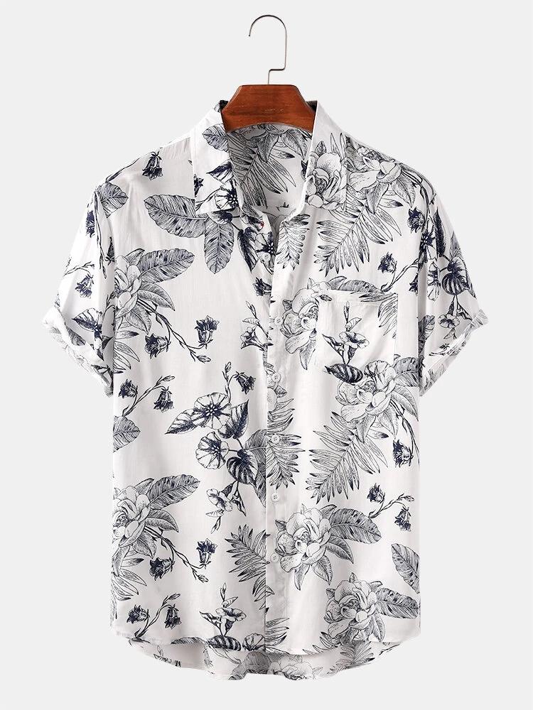 White Tropical Plant Print Hawaii Lapel Collar Casual Short Sleeve Shirt For Men