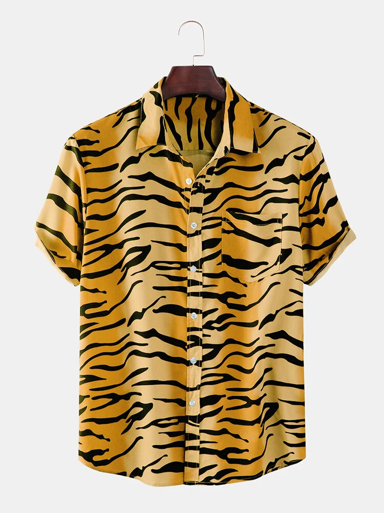 Yellow New Tiger Pattern Print Short Sleeve Shirt For Men