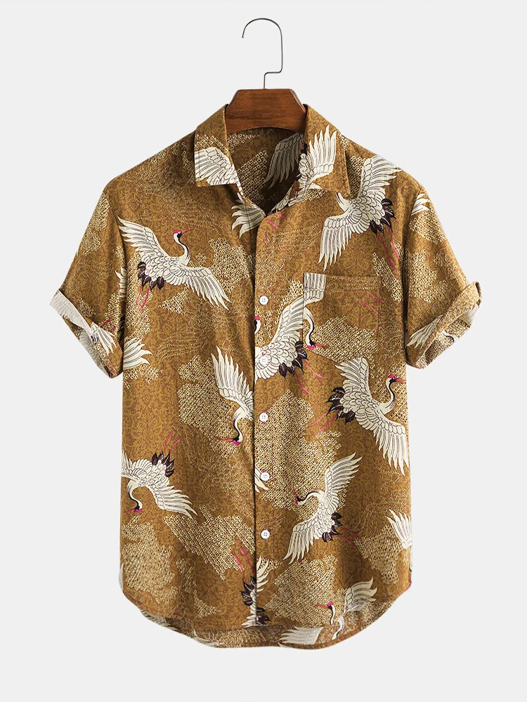 Brown New Chinese Style Crane Print Cotton Short Sleeve Shirt For Men