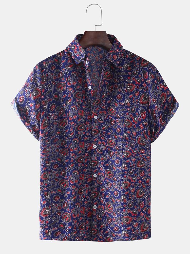 Blue Paisley Print Short Sleeve Fold Down Collar Casual Shirt For Men