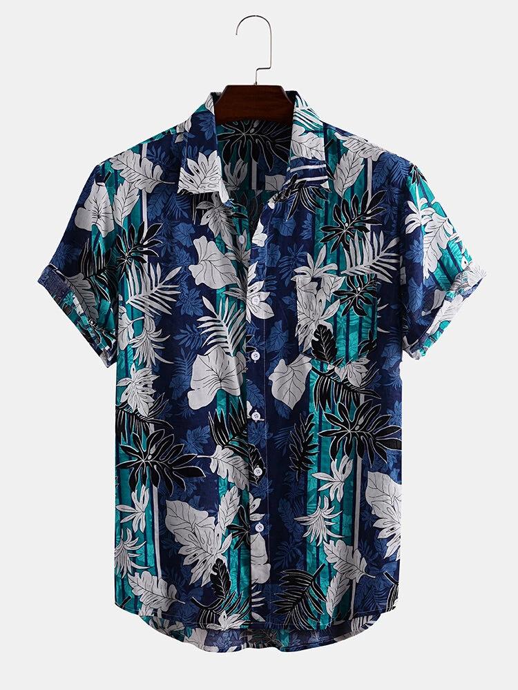 Blue Leaf Print Turn Down Collar Short Sleeve Shirt For Men