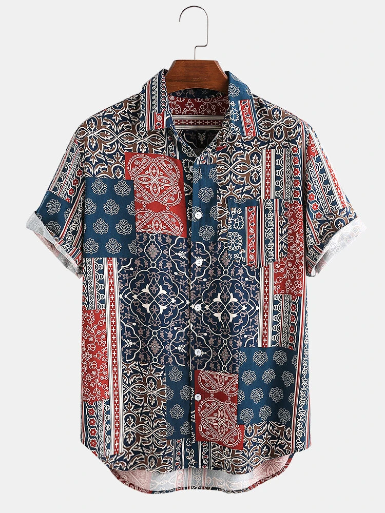 Multi Color Ethnic Style Handkerchief Print Chest Pocket Short Sleeve Casual Vintage Shirt For Men