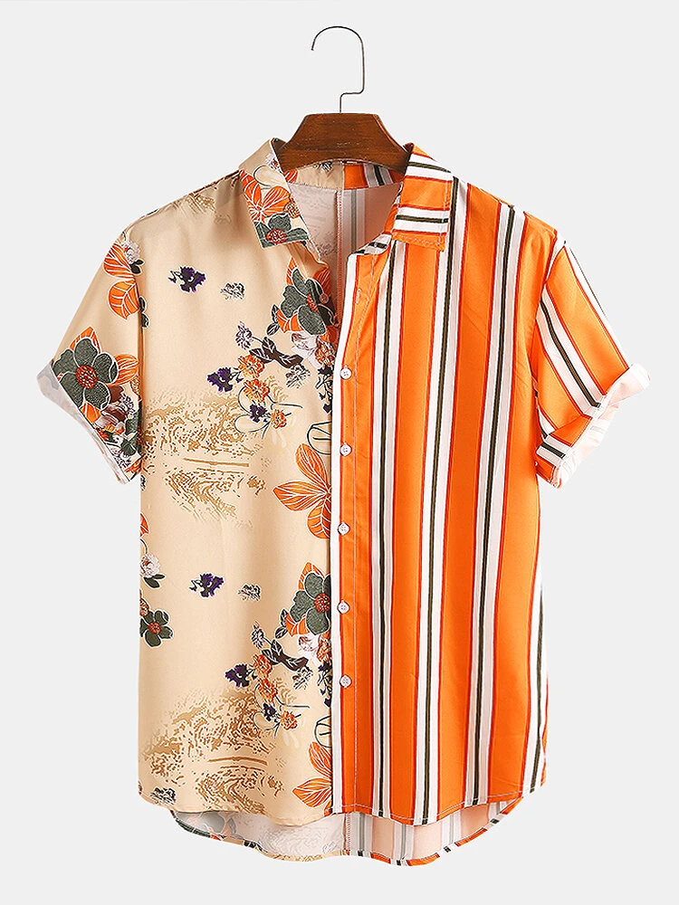 Orange And Cream Tropical Plants Colorful Stripe Mixed Print Short Sleeve Casual Holiday Shirt For Men