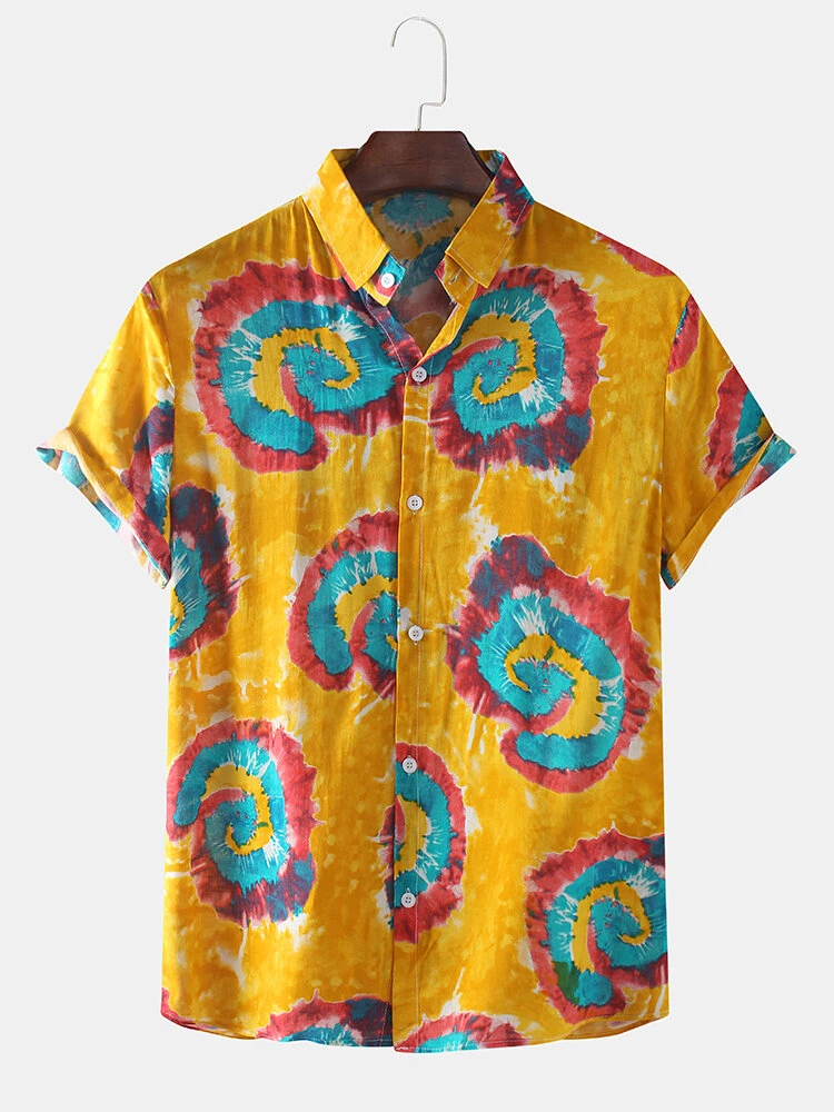 Yellow Mixed Color Tie-Dye Print Short Sleeve Casual Shirt For Men
