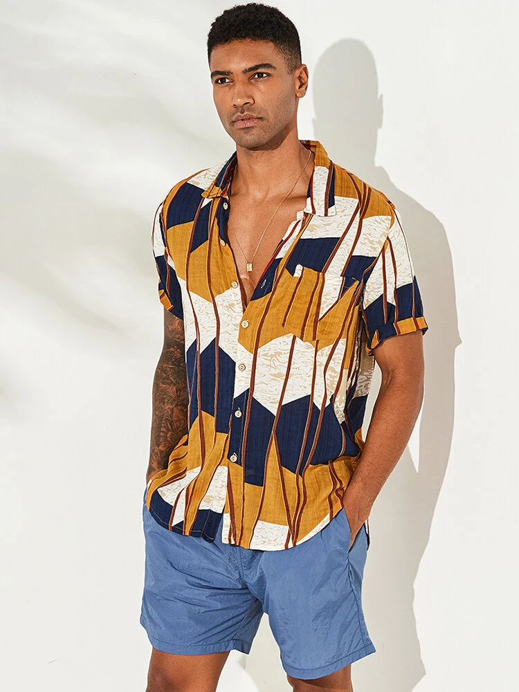 Yellow Abstract Contrast Colorblock Chest Pocket Short Sleeve Casual Shirt For Men
