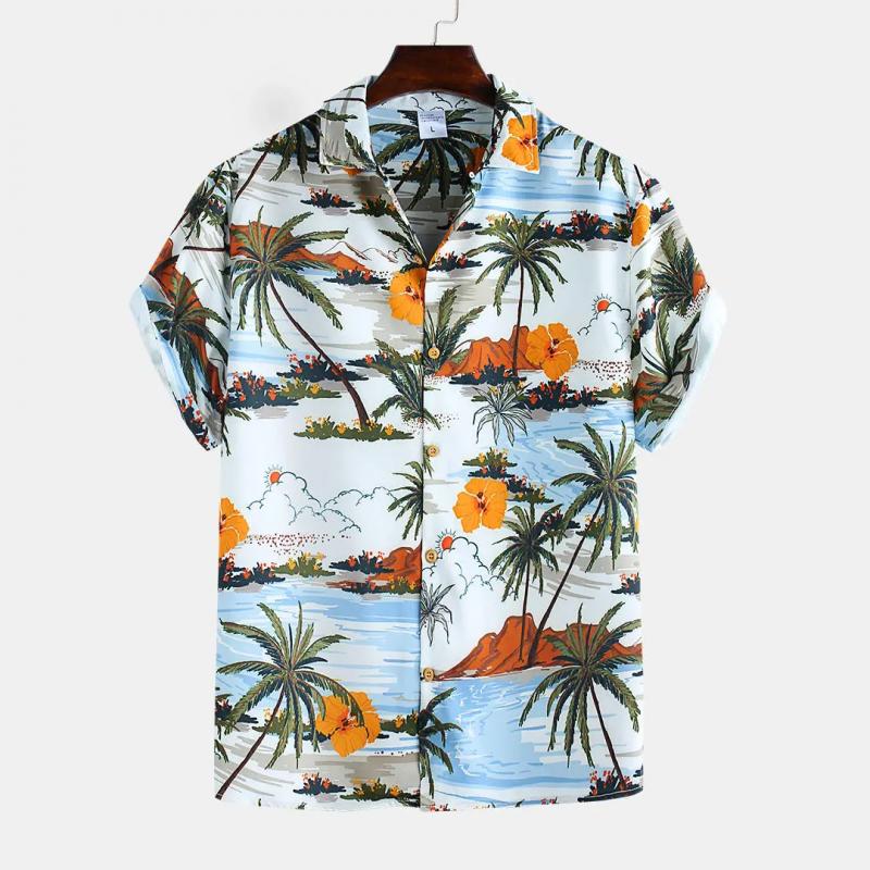 Multi Color Retro Landscape Printed Short Sleeve Shirt For Men