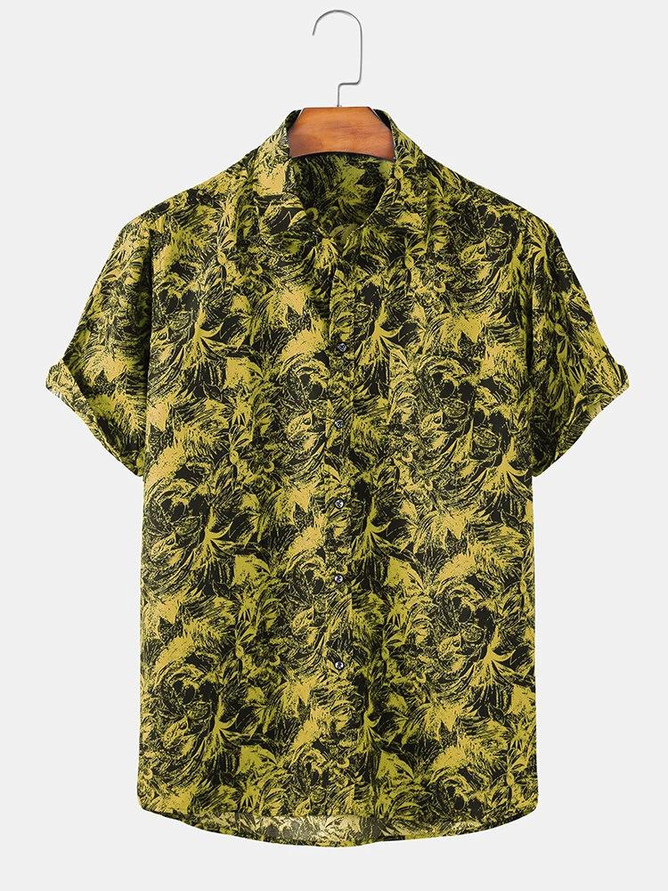 Yellow Casual Tree Print Lapel Short Sleeve Shirt For Men