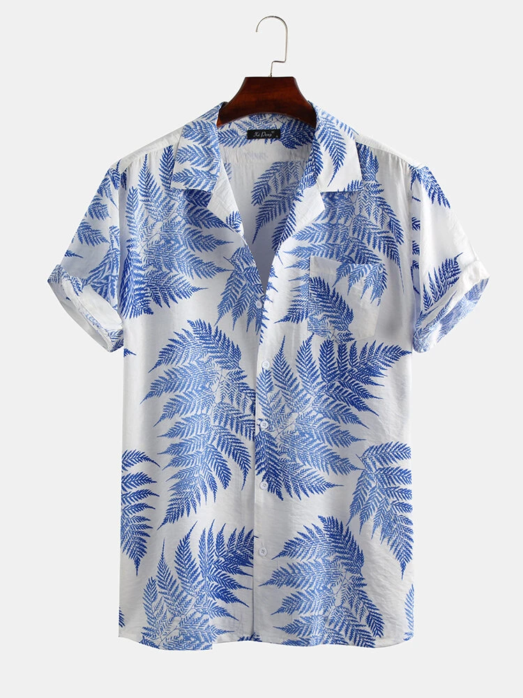 White And Blue Pine Leaves Print Cotton Short Sleeve Relaxed Shirt For Men