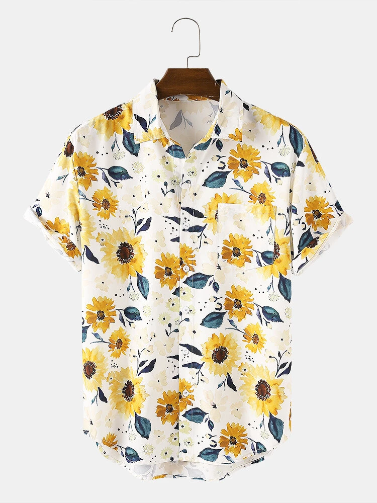White Watercolor Sunflower Print Pocket Hawaii Casual Short Sleeve Shirt For Wo For Men