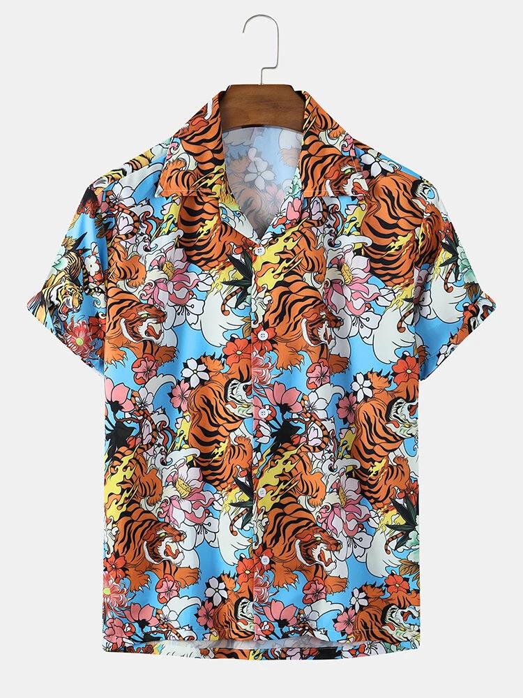 Multi Color Tiger Print Revere Collar Short Sleeve Shirt For Men