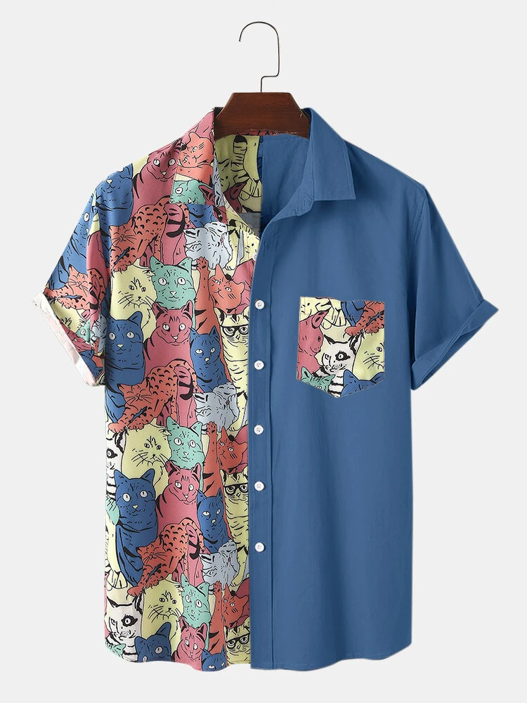 Blue Funny Cartoon Colorful Cat Print Chest Pocket Casual Short Sleeve Shirt For Men
