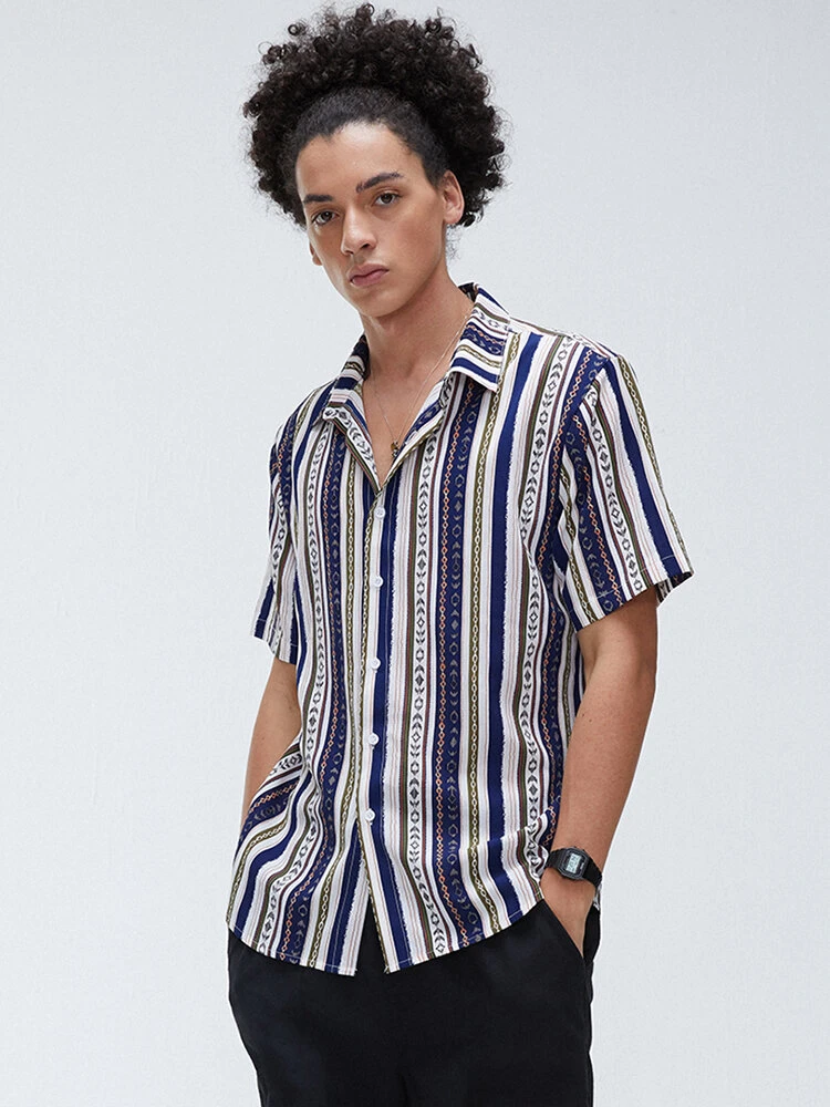 Multi Stripe Ethnic Style Turn Down Collar Short Sleeve Casual Shirt For Men
