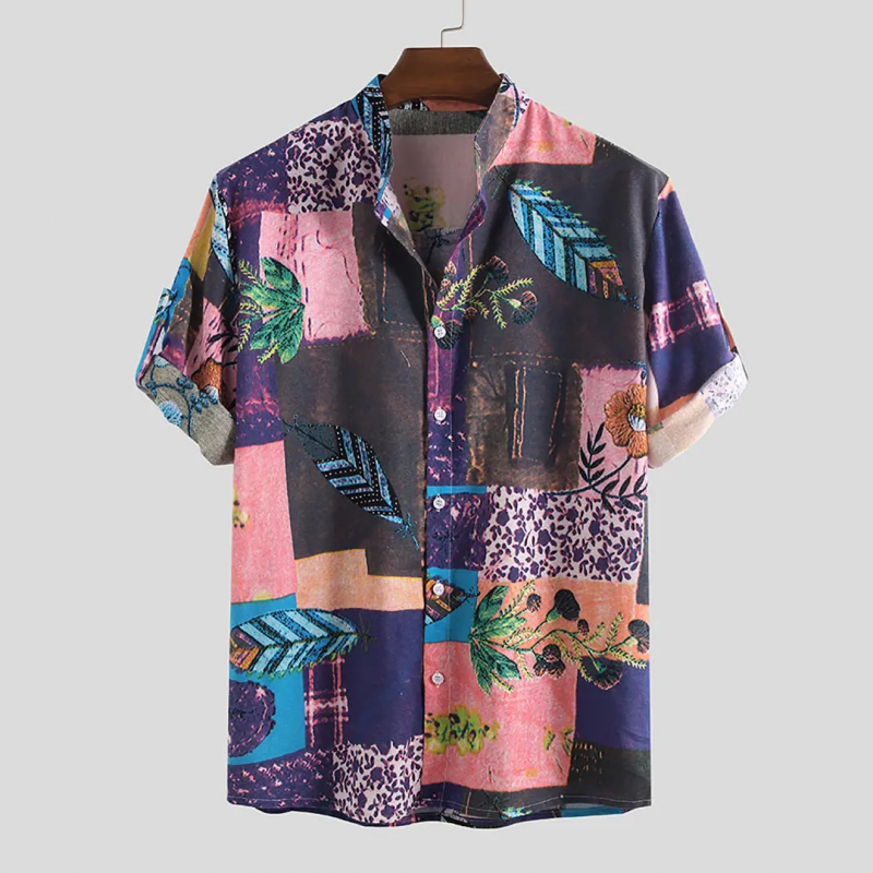 Multi National Floral Printed Cotton Half Sleeve Turn Down Collar Shirt For Men