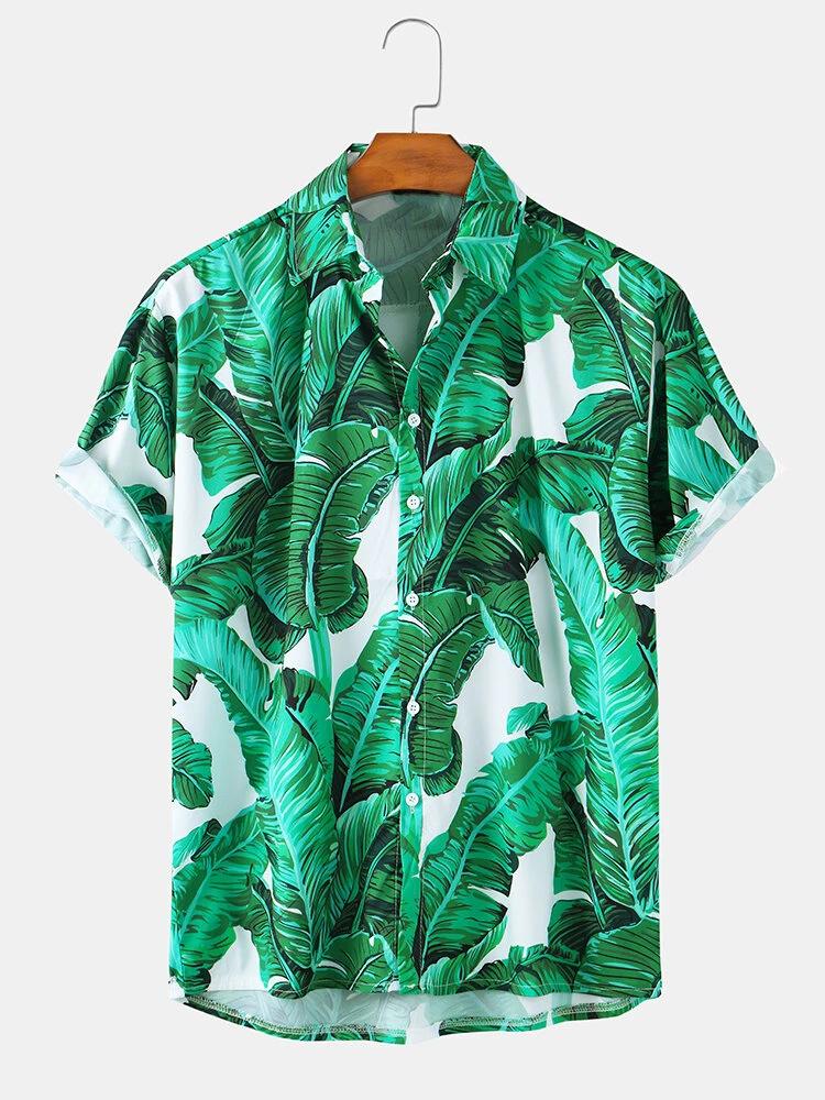 Green Banana Leaves Print Hawaii Holiday Short Sleeve Shirt For Men