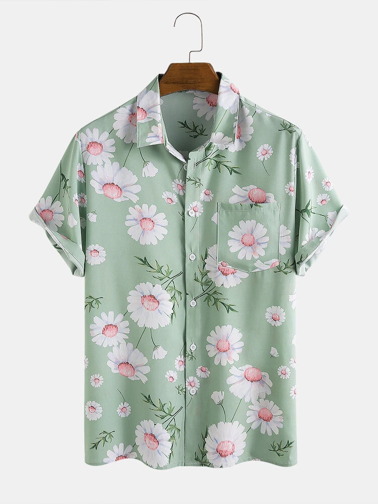 Olive Green Daisy Floral Printed Turn Down Collar Short Sleeve Hawaii Holiday Shirt For Men