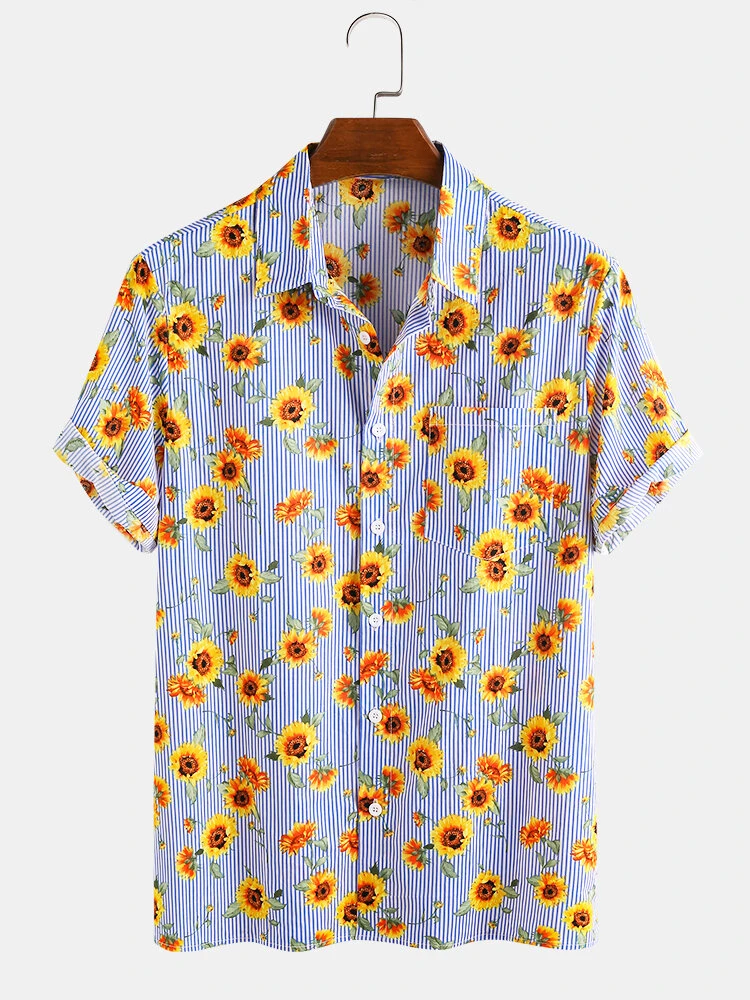 Blue Cotton Sunflower Printed Striped Casual Short Sleeve Hawaii Holiday Fully Stitched Shirt For Men