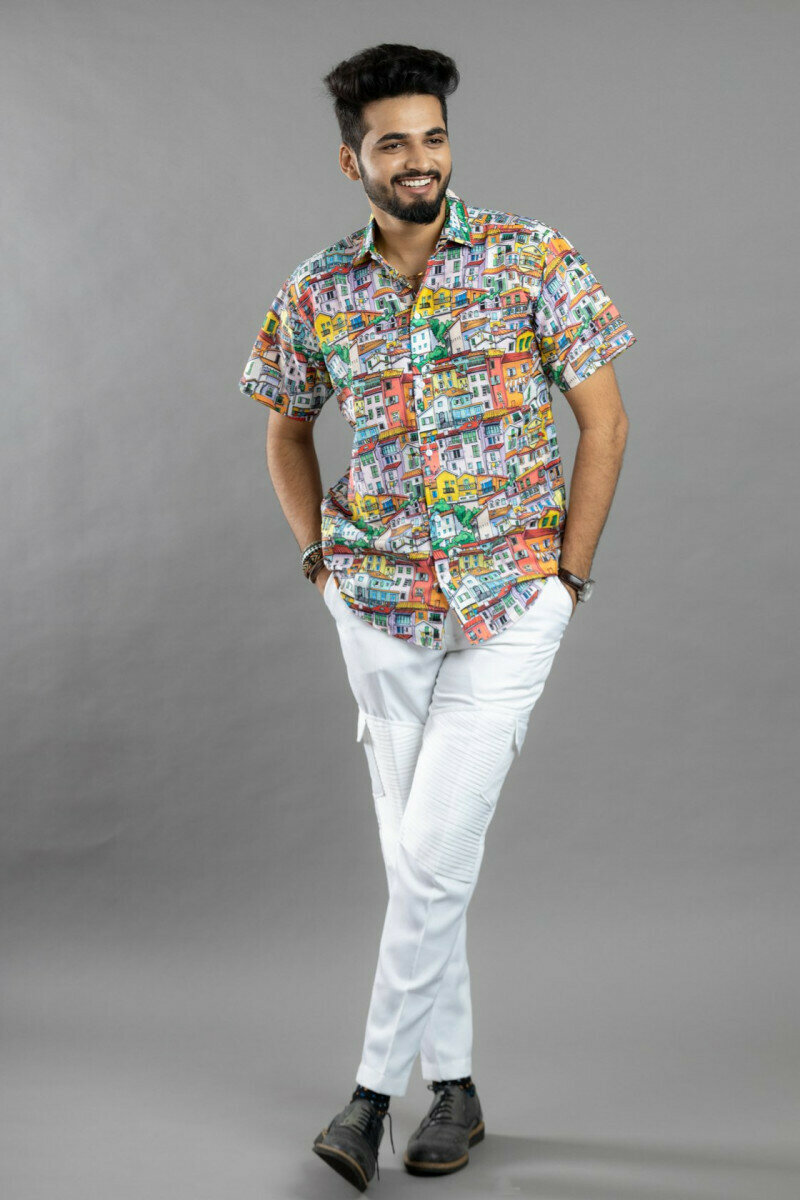 Multi Color Town Printed Half Sleeve Full Stitched Spread Collar Shirt For Men