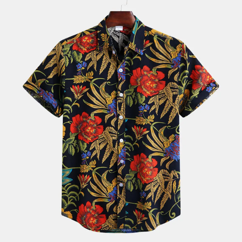 Black Patchwork Pattern Ethnic Hawaiian Floral Printed Shirt For Men