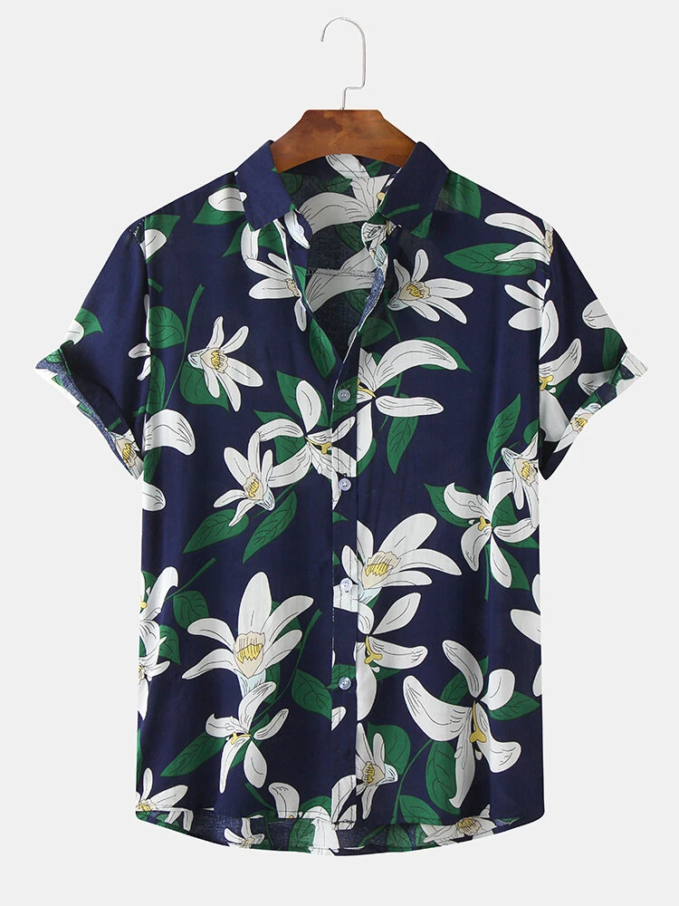 Navy Blue Cotton Floral Oil Printting Breathable Short Sleeve Casual Shirt For Men