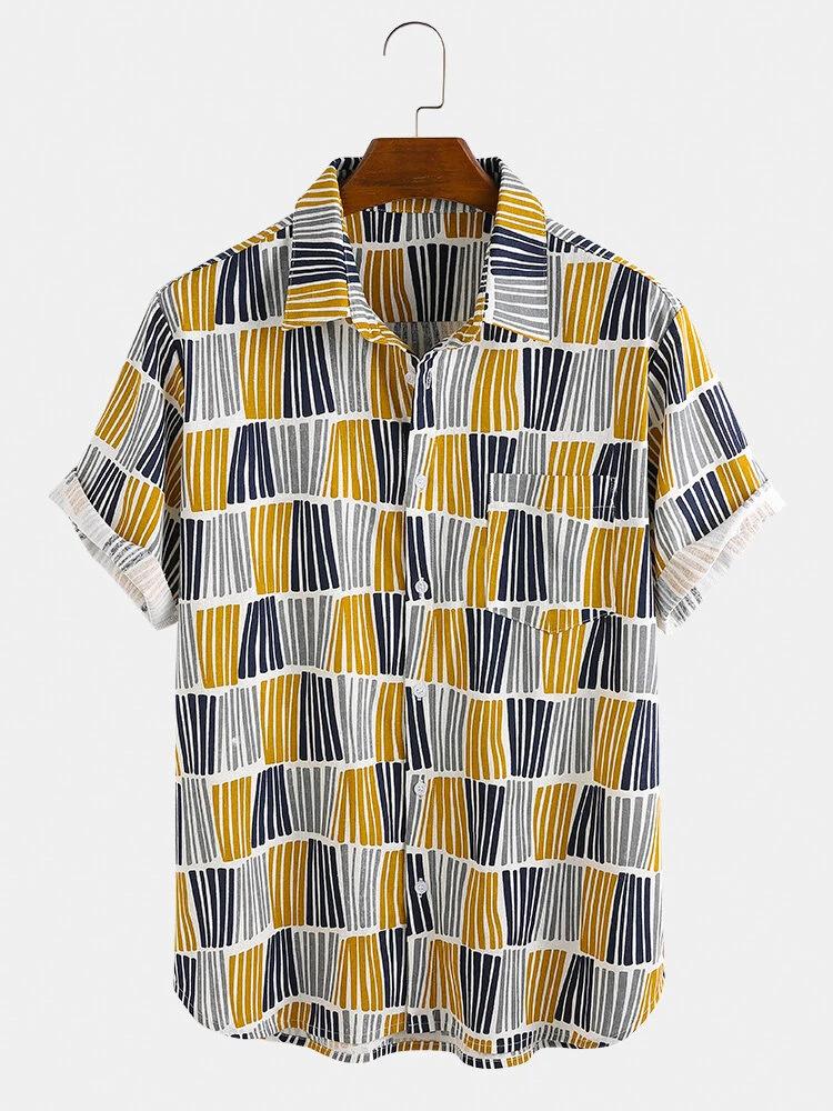 Ethnic Style Stripe Plain Colorful Design Breathable Shirt For Men