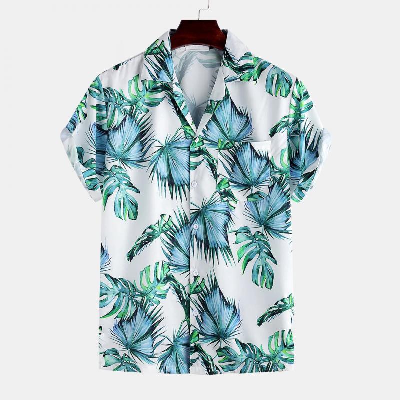White Jay Chou Mojito Same Style Floral Print Vacation Hawaiian Casual Shirt For Men