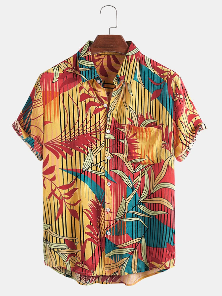 Yellow Vertical Line Leaves Print Colorful Hawaii Holiday Short Sleeve Shirt For Men