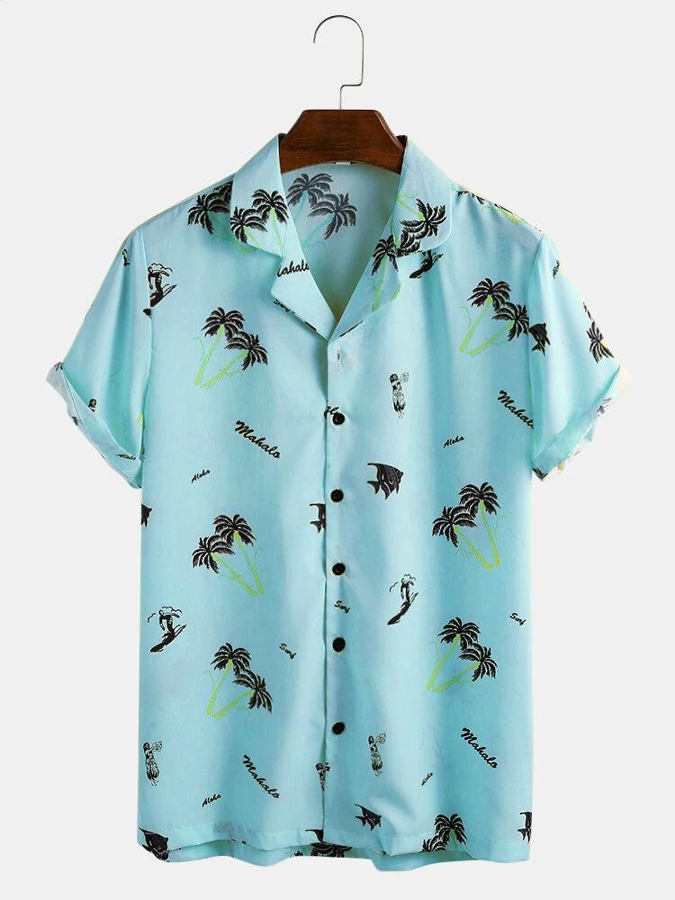 Sky Blue Satin Cartoon Coconut Tree Printing Short Sleeve Casual Revere Shirt For Men