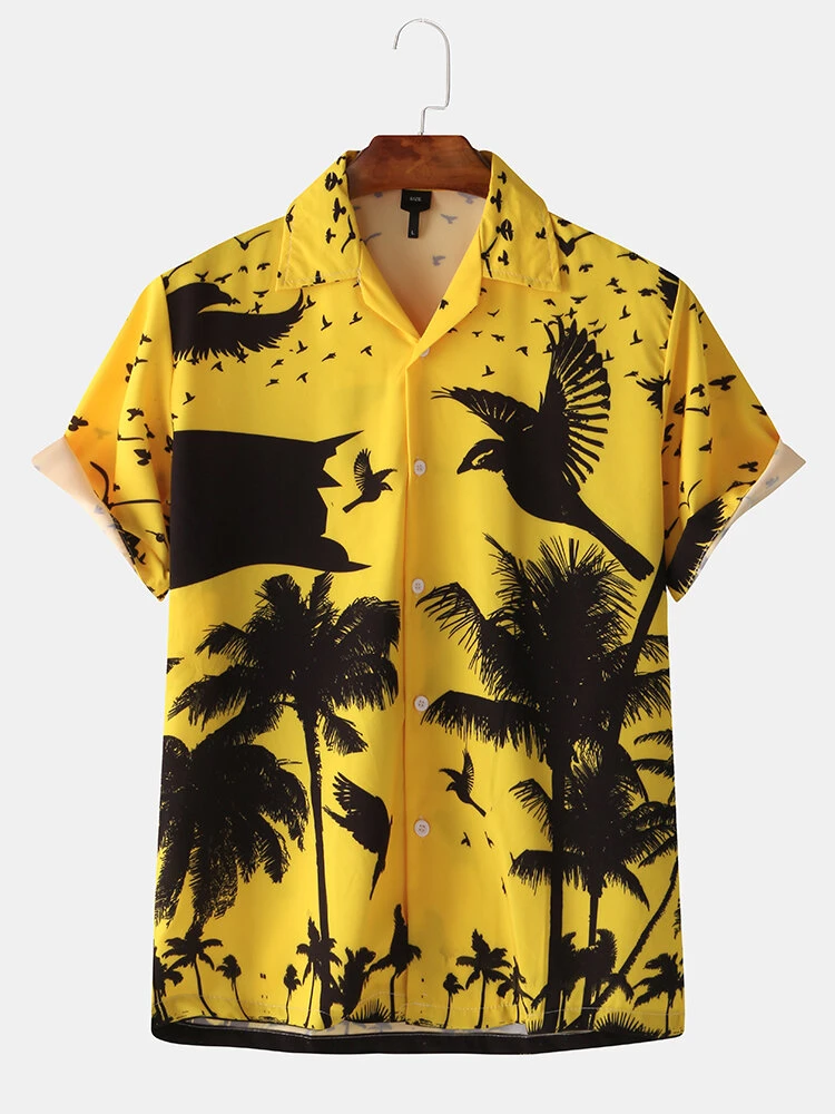 Yellow Loose Beach Hawaii Print Turn- Down Collar Shirt For Men