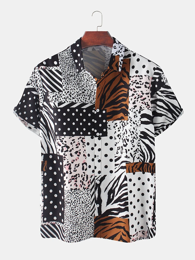 White Zebra Leopard Dot Mixed Print Short Sleeve Patchwork Holiday Shirt For Men