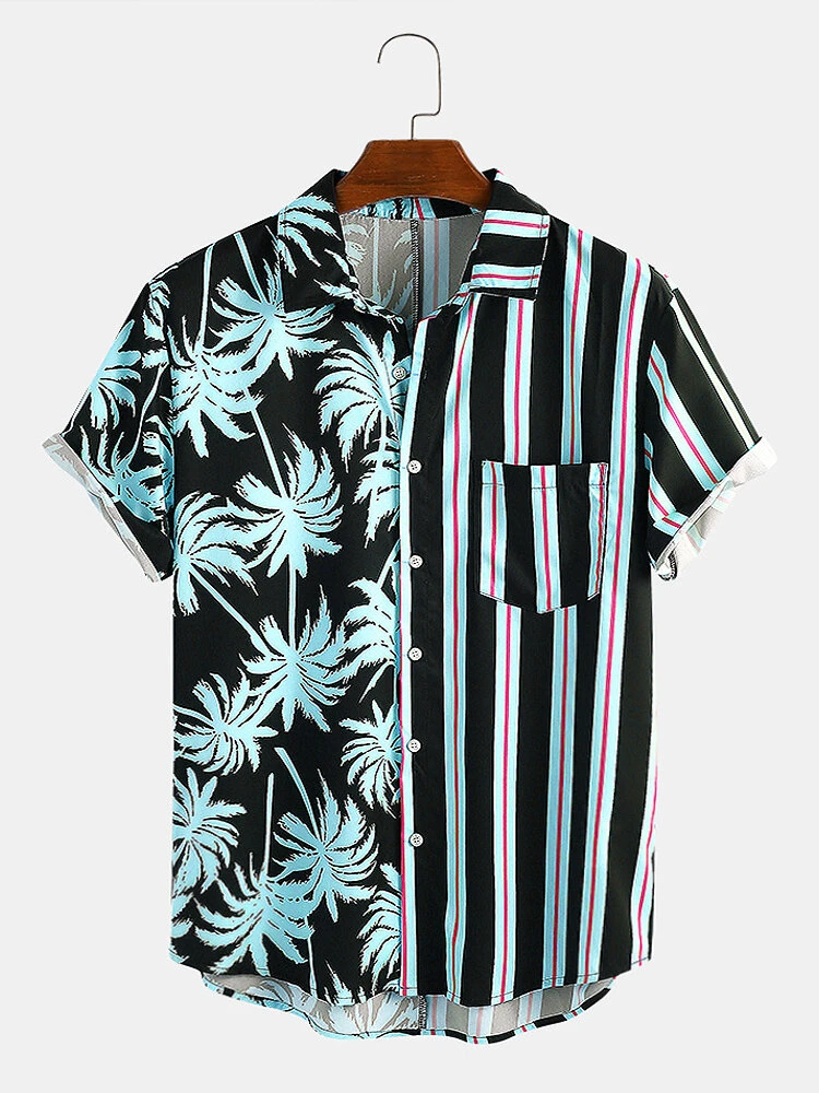 Sky Blue Coconut Tree Colorful Stripe Mixed Print Short Sleeve Casual Holiday Shirt For Men