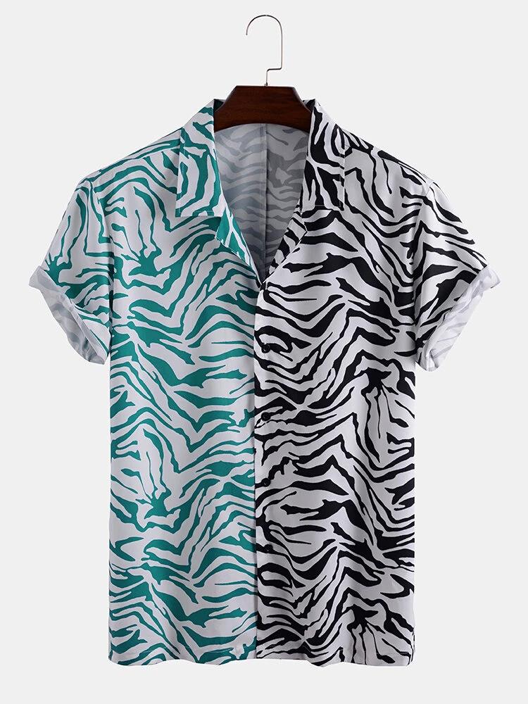 Green White Zebra Mixed Print Short Sleeve Casual Holiday Shirt For Men