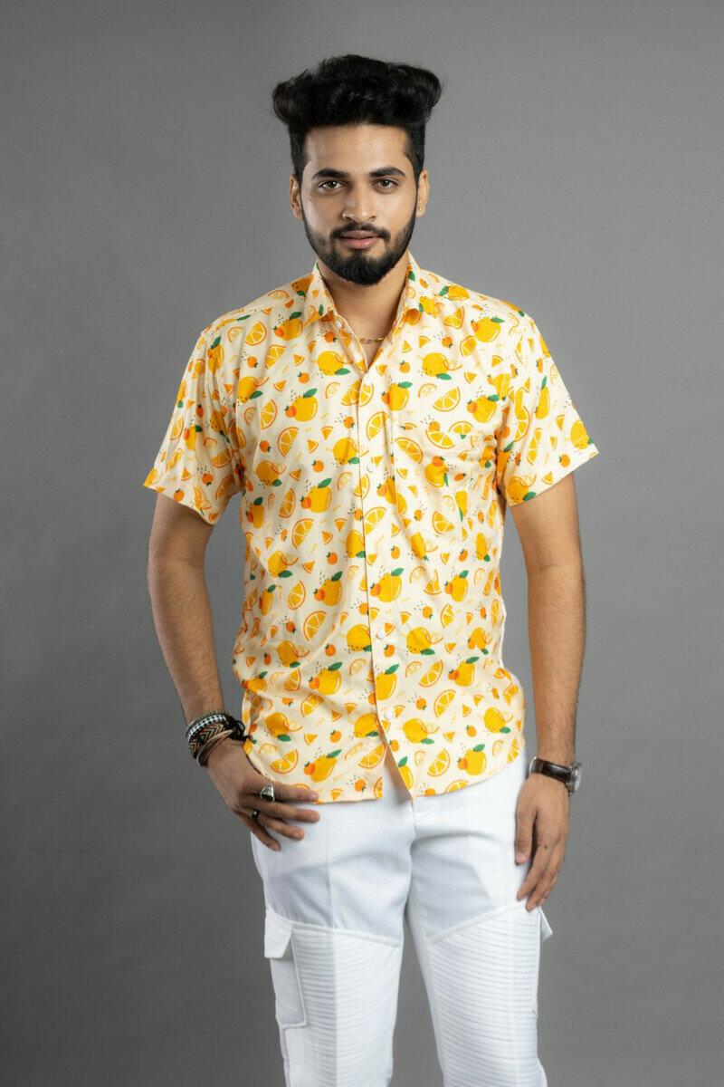 Lemon Printed Half Sleeve Full Stitched Shirt For Men