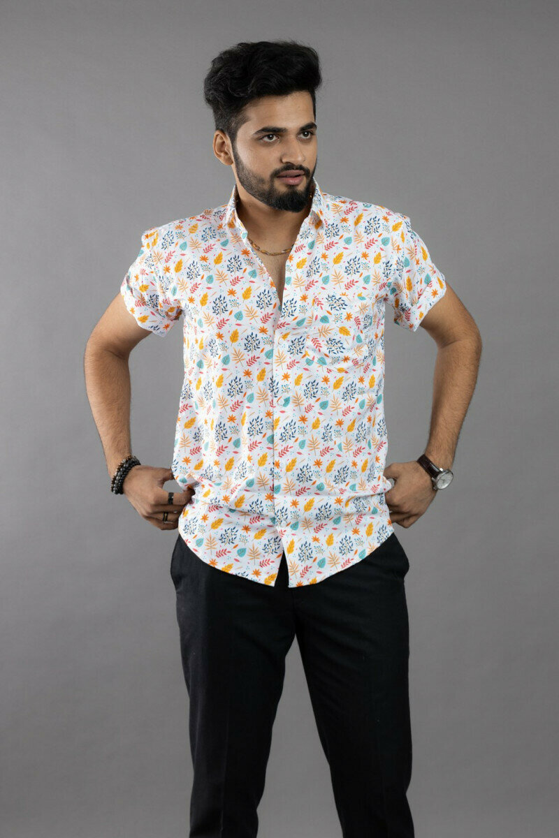 White Floral Printed Half Sleeve Full Stitched Shirt For Men