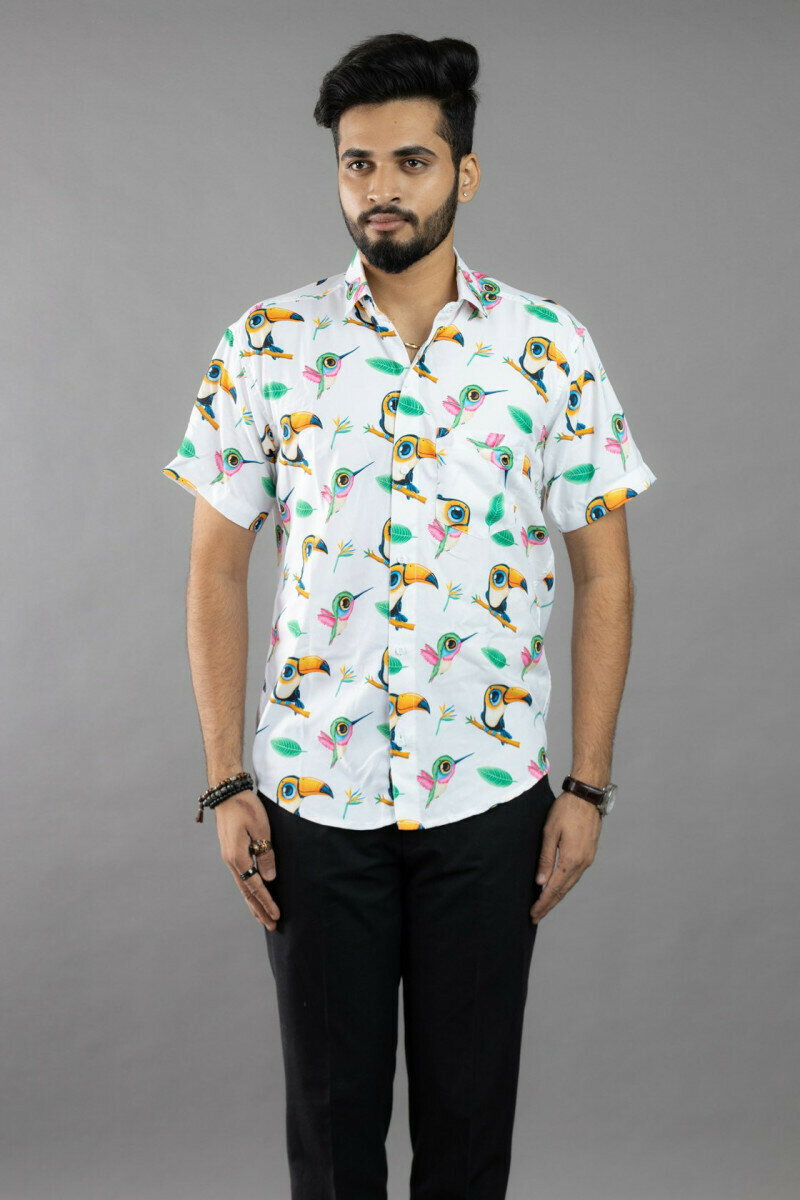 White Chubbies The Nutter Parrot Printed Half Sleeve Full Stitched Shirt For Men