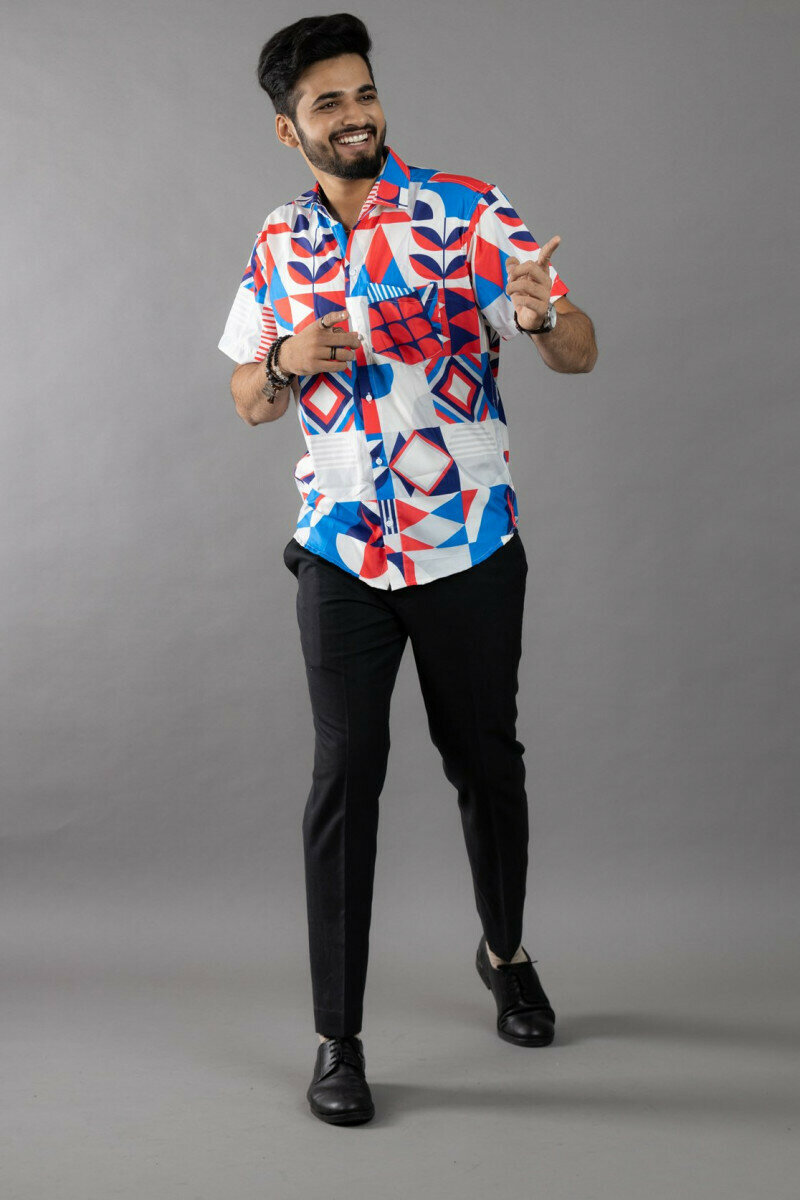 White And Blue Geometric Pattern Printed Half Sleeve Full Stitched Shirt For Men