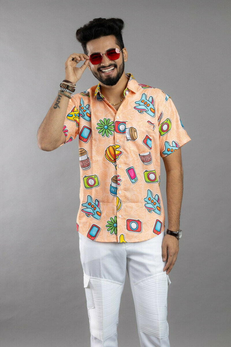 Orange Best Travelling Object Printing Half Sleeve Full Stitched Shirt For Men
