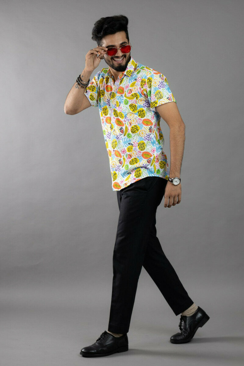 Fruits Printed Half Sleeve Full Stitched Shirt For Men
