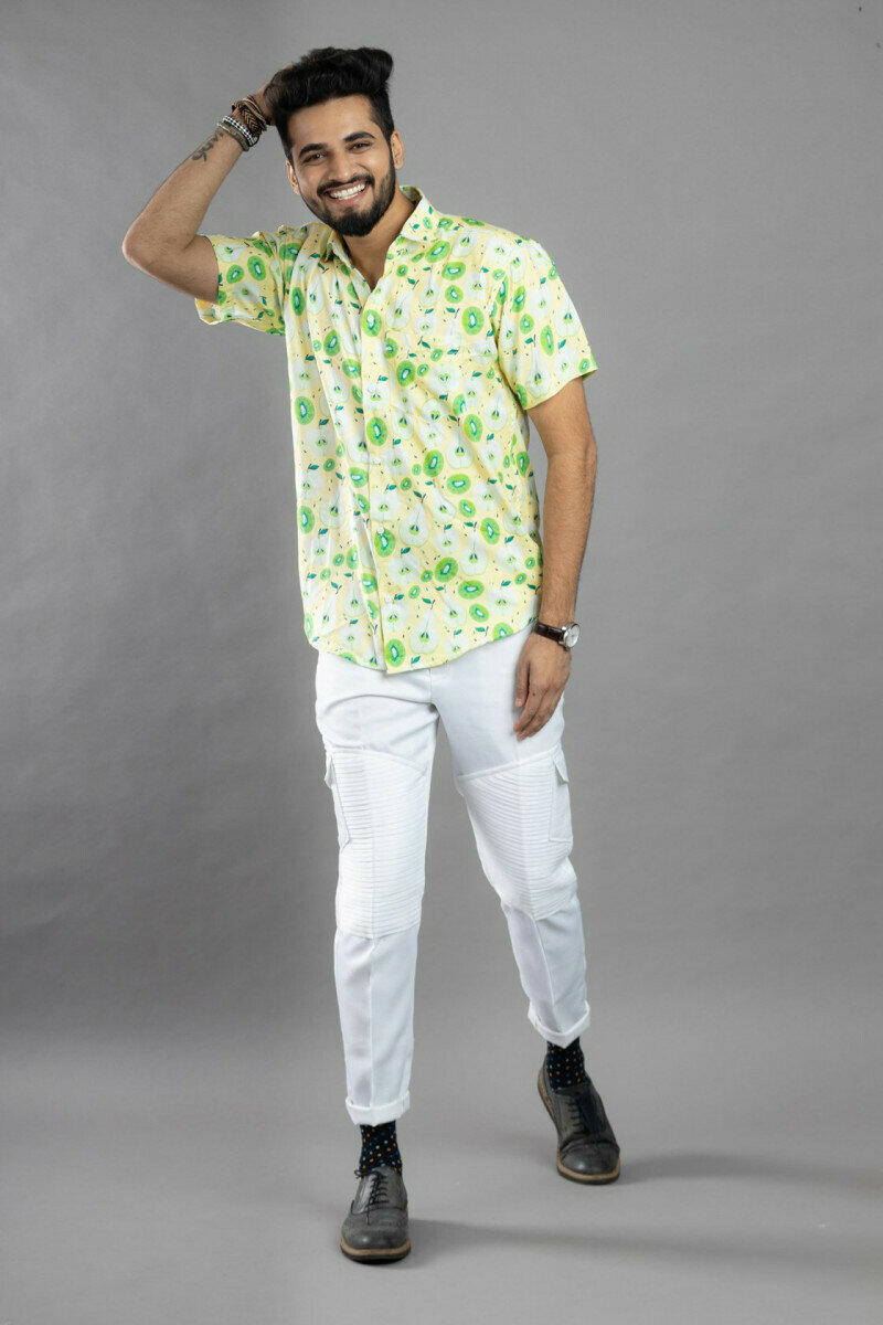 Different Fruits Print Half Sleeve Full Stitched Shirt For Men